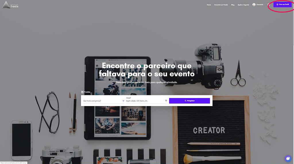 homepage da plataforma preciso de freela